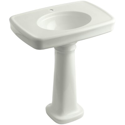 Bancroft� Ceramic 31 Pedestal Bathroom Sink with Overflow Finish: Dune, Faucet Hole Style: Single