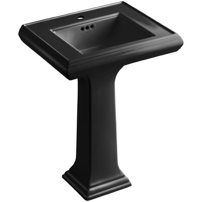 Memoirs� Ceramic 24 Pedestal Bathroom Sink with Overflow Finish: Black Black, Faucet Hole Style: 4Centerset