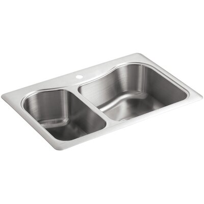 Staccato 33 x 22 x 8-5/16 Top-Mount Large/Medium Double-Bowl Kitchen Sink with Single Faucet Hole