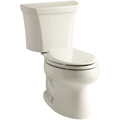Wellworth Two-Piece Elongated Dual-Flush Toilet with Right-Hand Trip Lever Finish: Almond
