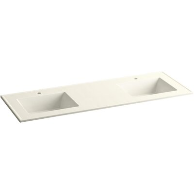 Ceramic Impressions 61 Double Bathroom Vanity Top Finish: Biscuit Impressions, Faucet Hole Type: 8 Centerset