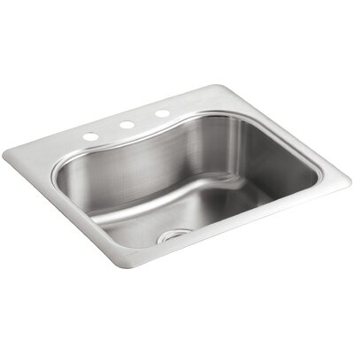 Staccato 25 x 22 x 8-5/16 Top-Mount Single-Bowl Kitchen Sink with 3 Faucet Holes