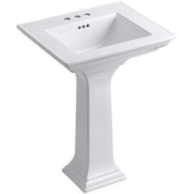 Memoirs� Ceramic 25 Pedestal Bathroom Sink with Overflow Finish: White, Faucet Hole Style: 4Centerset
