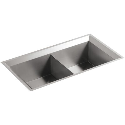 Poise 33 x 18 x 9-3/4 Under-Mount Double-Equal Bowl Kitchen Sink with Mirror Finished Rim Finish: Standard