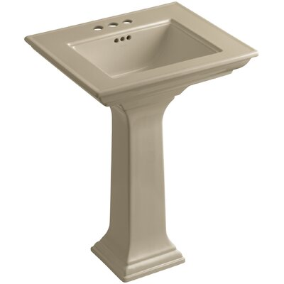 Memoirs� Ceramic 25 Pedestal Bathroom Sink with Overflow Finish: Mexican Sand, Faucet Hole Style: 4Centerset