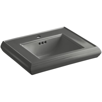 Memoirs� Ceramic 24 Pedestal Bathroom Sink with Overflow Finish: Thunder Grey, Faucet Hole Style: 4Centerset