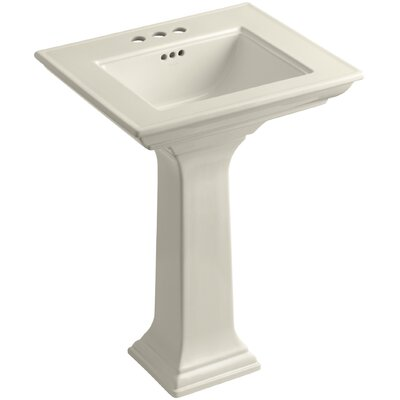 Memoirs� Ceramic 25 Pedestal Bathroom Sink with Overflow Finish: Almond, Faucet Hole Style: 4Centerset