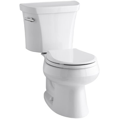 Wellworth Two-Piece Round-Front 1.28 GPF Toilet with Class Five Flush Technology and Left-Hand Trip Lever Finish: White