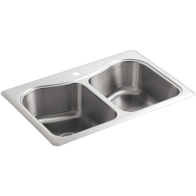 Staccato 33 x 22 x 8-5/16 Top-Mount Double-Equal Bowl Kitchen Sink with Single Faucet Hole
