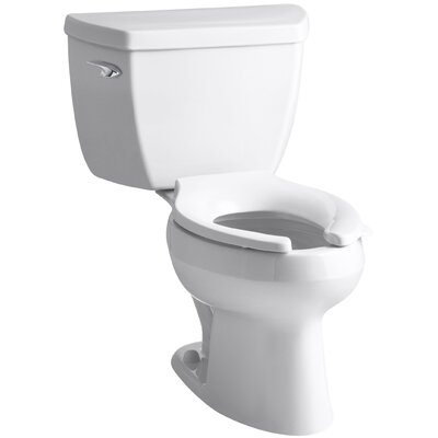Wellworth Classic Two-Piece Elongated 1.6 GPF Toilet with Pressure Lite Flushing Technology, Left-Hand Trip Lever, Less Seat Finish: White