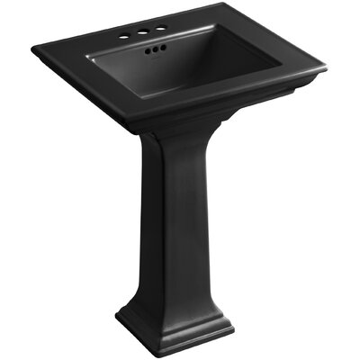 Memoirs� Ceramic 25 Pedestal Bathroom Sink with Overflow Finish: Black Black, Faucet Hole Style: 4Centerset