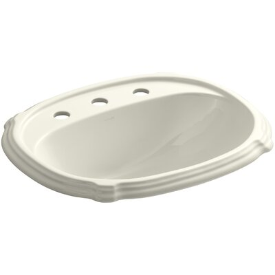 Portrait Self Rimming Bathroom Sink 8 Finish: Biscuit, Faucet Hole Style: 4 Centerset