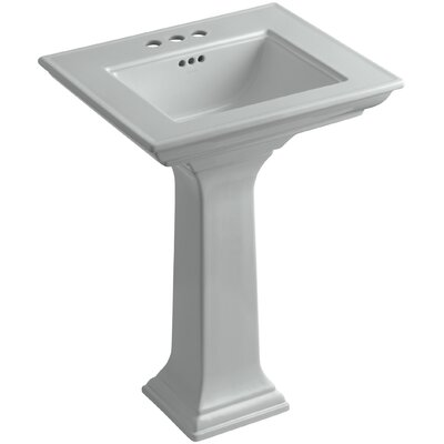 Memoirs� Ceramic 25 Pedestal Bathroom Sink with Overflow Finish: Ice Grey, Faucet Hole Style: 4Centerset