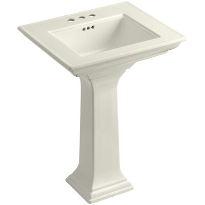 Memoirs� Ceramic 25 Pedestal Bathroom Sink with Overflow Finish: Biscuit, Faucet Hole Style: 4Centerset