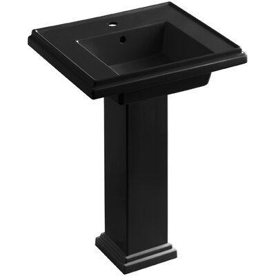 Tresham 24 Pedestal Bathroom Sink with Overflow Finish: Black Black, Faucet Hole Style: 8 Widespread