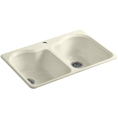 Hartland 33 x 22 x 9-5/8 Top-Mount Double-Equal Kitchen Sink Finish: Cane Sugar, Number of Faucet Holes: 3