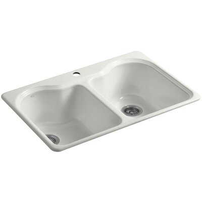 Hartland 33 x 22 x 9-5/8 Double Basin Drop-In Kitchen Sink Finish: Sea Salt, Faucet Drillings: 2 Hole