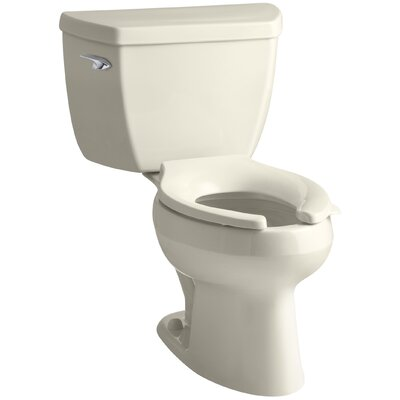 Wellworth Classic Two-Piece Elongated 1.0 GPF Toilet with Pressure Lite Flushing Technology, Tank Cover Locks and Left-Hand Trip Lever, Less Seat Finish: Almond
