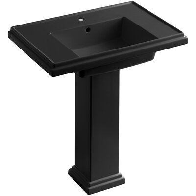 Tresham� Ceramic 30 Pedestal Bathroom Sink with Overflow Finish: Black Black, Faucet Hole Style: Single