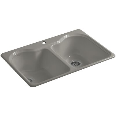 Hartland 33 x 22 x 9-5/8 Double Basin Drop-In Kitchen Sink Finish: Cashmere, Faucet Drillings: 1 Hole