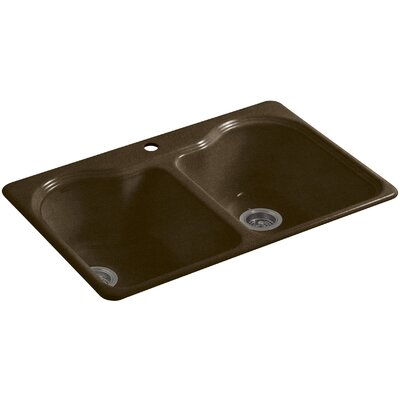 Hartland 33 x 22 x 9-5/8 Top-Mount Double-Equal Kitchen Sink Finish: Black n Tan, Number of Faucet Holes: 2
