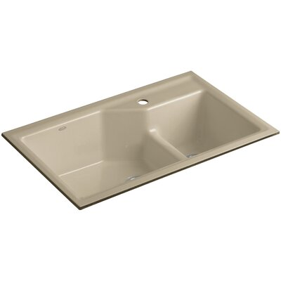 Indio 33 x 21-1/8 x 9-3/4 Under-Mount Smart Divide Large/Small Double-Bowl Kitchen Sink Finish: Mexican Sand, Number of Faucet Holes: 1