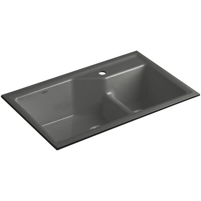 Indio 33 x 21-1/8 x 9-3/4 Under-Mount Smart Divide Large/Small Double-Bowl Kitchen Sink Finish: Thunder Grey, Faucet Drillings: 1 Hole