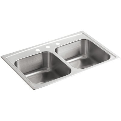 Toccata 33 x 22 x 8-3/16 Top-Mount Double-Equal Bowl Kitchen Sink with 3 Faucet Holes