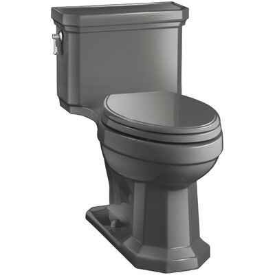 Kathryn Comfort Height Elongated One-Piece 1.28 GPF Toilet with Aquapiston Flush Technology, Left-Hand Trip Lever and Concealed Trapway Finish: Thunder Grey