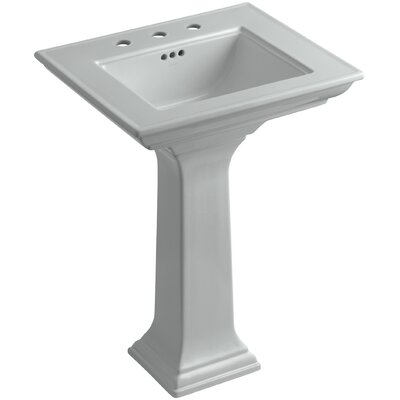 Memoirs� Ceramic 25 Pedestal Bathroom Sink with Overflow Finish: Ice Grey, Faucet Hole Style: 8 Widespread