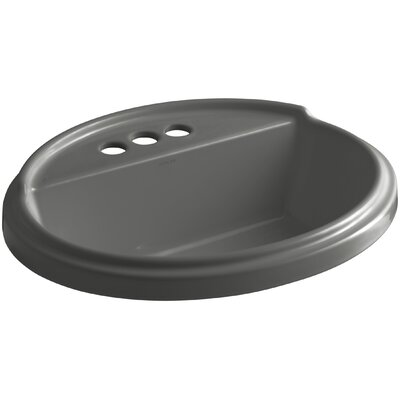 Tresham� Ceramic Oval Drop-In Bathroom Sink with Overflow Finish: Thunder Grey, Faucet Hole Style: 8 Widespread