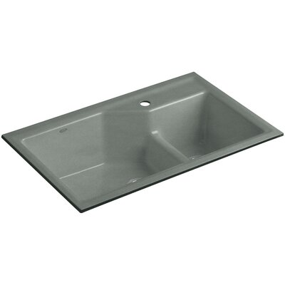 Indio 33 x 21-1/8 x 9-3/4 Under-Mount Smart Divide Large/Small Double-Bowl Kitchen Sink Finish: Basalt, Number of Faucet Holes: 1