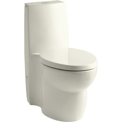 Saile Skirted One-Piece Elongated Dual-Flush Toilet with Top Actuator and Saile Quiet-Close Toilet Seat with Quick-Release Functionality Finish: Biscuit