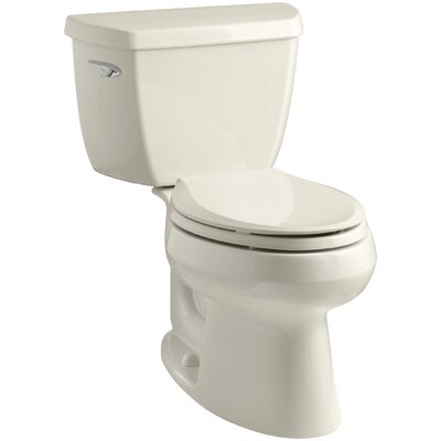 Wellworth Classic Two-Piece Elongated 1.28 GPF Toilet with Class Five Flush Technology, Left-Hand Trip Lever and Tank Cover Locks Finish: Almond