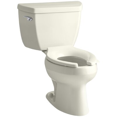 Wellworth Classic Two-Piece Elongated 1.6 GPF Toilet with Pressure Lite Flushing Technology, Left-Hand Trip Lever, Less Seat Finish: Biscuit