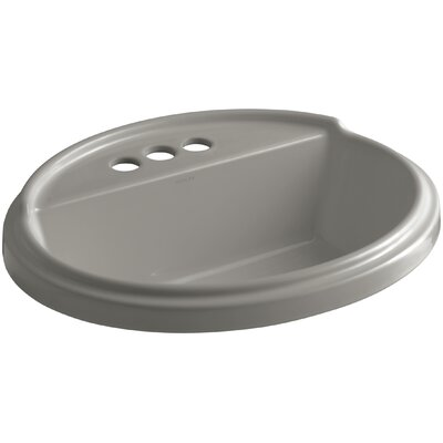 Tresham� Ceramic Oval Drop-In Bathroom Sink with Overflow Finish: Cashmere, Faucet Hole Style: 8 Widespread
