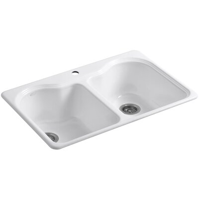 Hartland 33 x 22 x 9-5/8 Top-Mount Double-Equal Kitchen Sink Finish: White, Number of Faucet Holes: 4