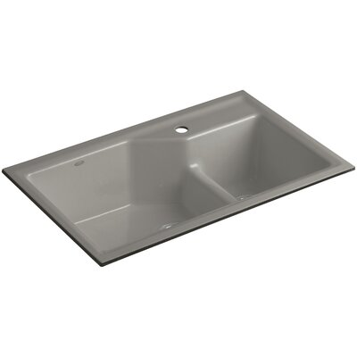 Indio 33 x 21-1/8 x 9-3/4 Under-Mount Smart Divide Large/Small Double-Bowl Kitchen Sink Finish: Cashmere, Faucet Drillings: 1 Hole