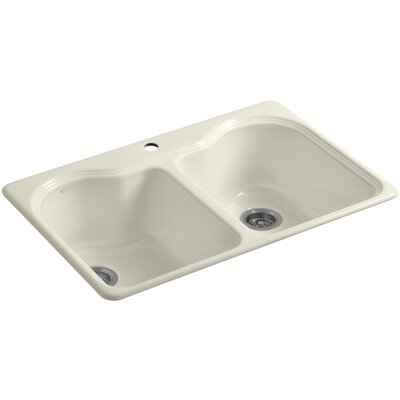 Hartland 33 x 22 x 9-5/8 Double Basin Drop-In Kitchen Sink Finish: Almond, Faucet Drillings: 3 Hole