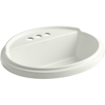 Tresham� Ceramic Oval Drop-In Bathroom Sink with Overflow Finish: Dune, Faucet Hole Style: 8 Widespread