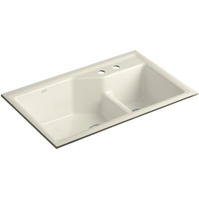 Indio 33 x 21-1/8 x 9-3/4 Under-Mount Smart Divide Large/Small Double-Bowl Kitchen Sink Finish: Almond, Faucet Drillings: 2 Hole