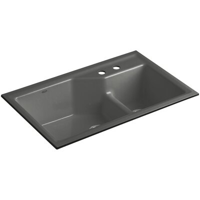 Indio 33 x 21-1/8 x 9-3/4 Under-Mount Smart Divide Large/Small Double-Bowl Kitchen Sink Finish: Thunder Grey, Faucet Drillings: 2 Hole