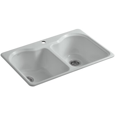 Hartland 33 x 22 x 9-5/8 Double Basin Drop-In Kitchen Sink Finish: Ice Grey, Faucet Drillings: 2 Hole