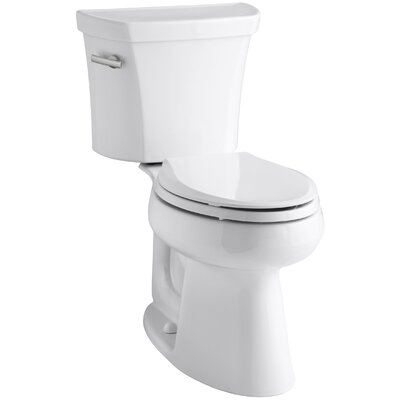 Highline Comfort Height Two-Piece Elongated 1.28 GPF Toilet with Class Five Flush Technology, Left-Hand Trip Lever and Insuliner Tank Liner Finish: White