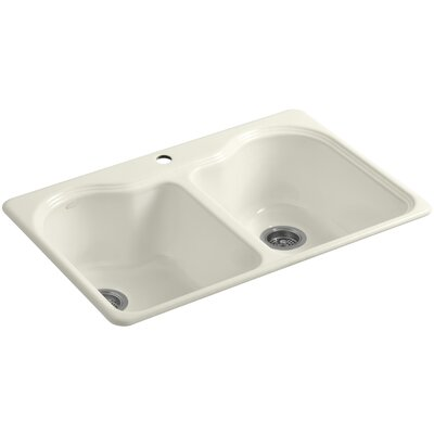 Hartland 33 x 22 x 9-5/8 Double Basin Drop-In Kitchen Sink Finish: Biscuit, Faucet Drillings: 1 Hole