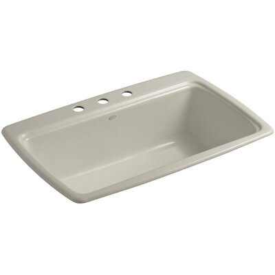 Cape Dory 33 x 22 x 9-5/8 Top-Mount Single-Bowl Kitchen Sink Finish: Sandbar, Faucet Drillings: 4 Hole
