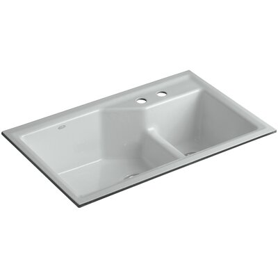 Indio 33 x 21-1/8 x 9-3/4 Under-Mount Smart Divide Large/Small Double-Bowl Kitchen Sink Finish: Ice Grey, Faucet Drillings: 2 Hole