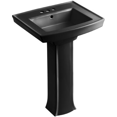 Archer Pedestal Bathroom Sink Finish: Black Black, Faucet Hole Style: 4 Centerset