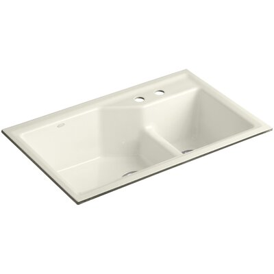 Indio 33 x 21-1/8 x 9-3/4 Under-Mount Smart Divide Large/Small Double-Bowl Kitchen Sink Finish: Biscuit, Faucet Drillings: 2 Hole
