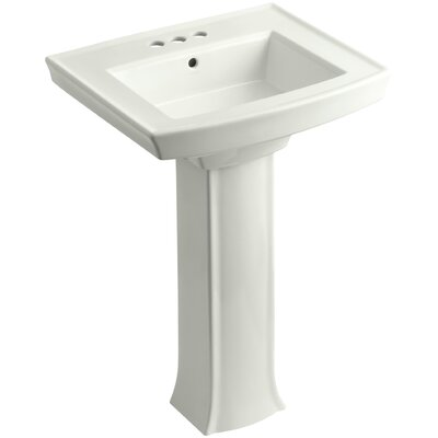 Archer 27 Pedestal Bathroom Sink Finish: Dune, Faucet Hole Style: 4 Centerset
